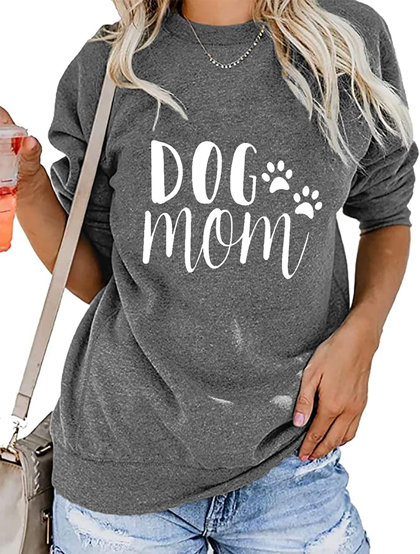MOUSYA Dog Mom Pullover Sweatshirt Women Letter Print Dog Paw Graphic Dog Lover Long Sleeve Round Neck Dog Mama Tee Top