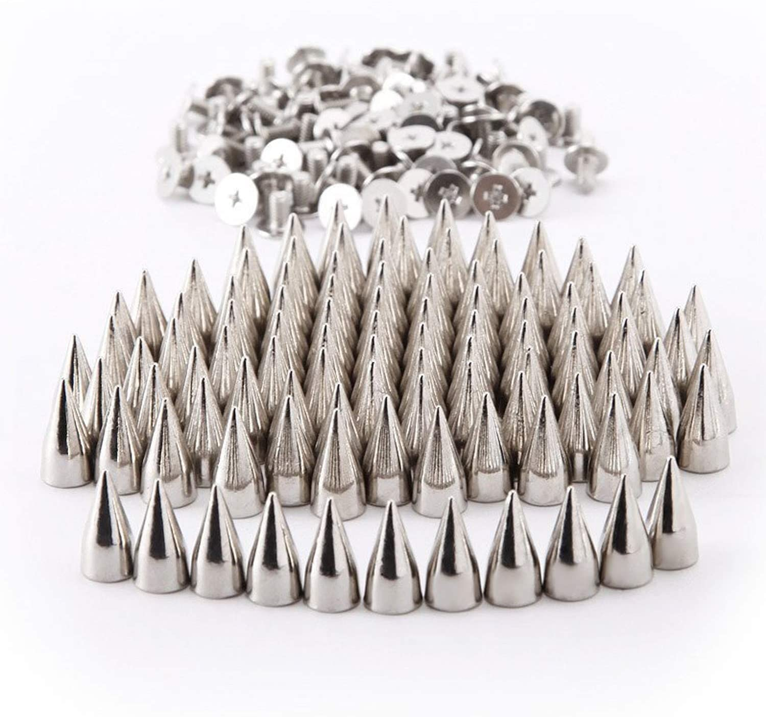 RUBYCA 50 Sets 13MM Silver Color Bullet Cone Spike and Stud Metal Screw Back for DIY Leather-Craft