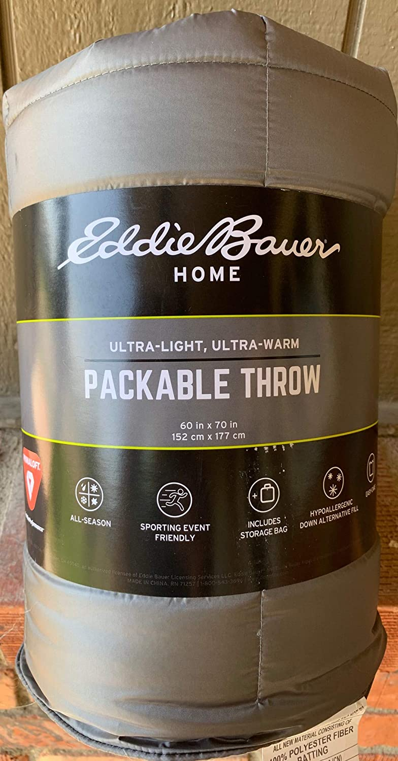 Eddie Bauer Packable Throw 60 by 70 inches Gray Grey Down Alternative Fill