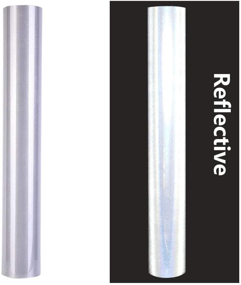 DIY Halloween Costume Design Reflective Heat Transfer Vinyl Roll Iron on Vinyl 12 in x 6 Ft HTV Vinyl (Light Gray)