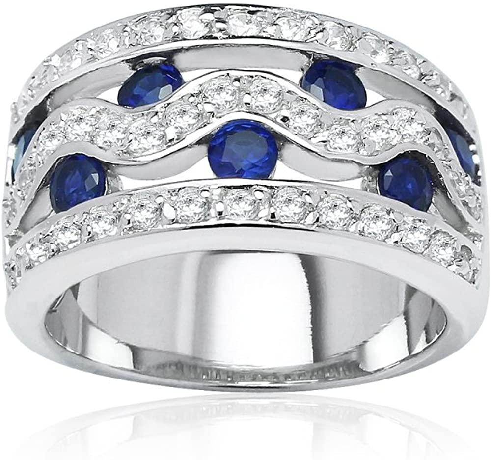 Sterling Silver Blue Cubic Zirconia Swirl Eternity Fashion Band Ring