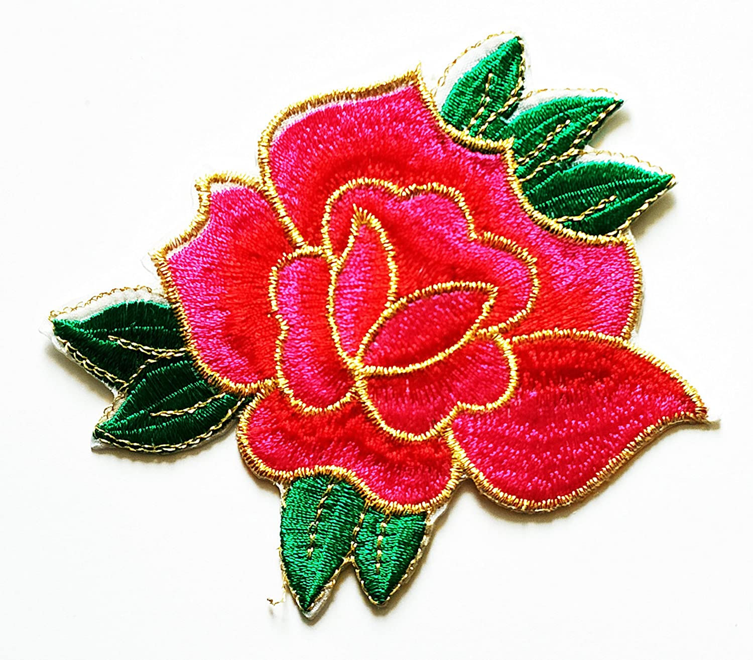 HHO Custom Pink Single Rose Embroidered Patch Embroidered DIY Patches, Cute Applique Sew Iron on Kids Craft Patch for Bags Jackets Jeans Clothes