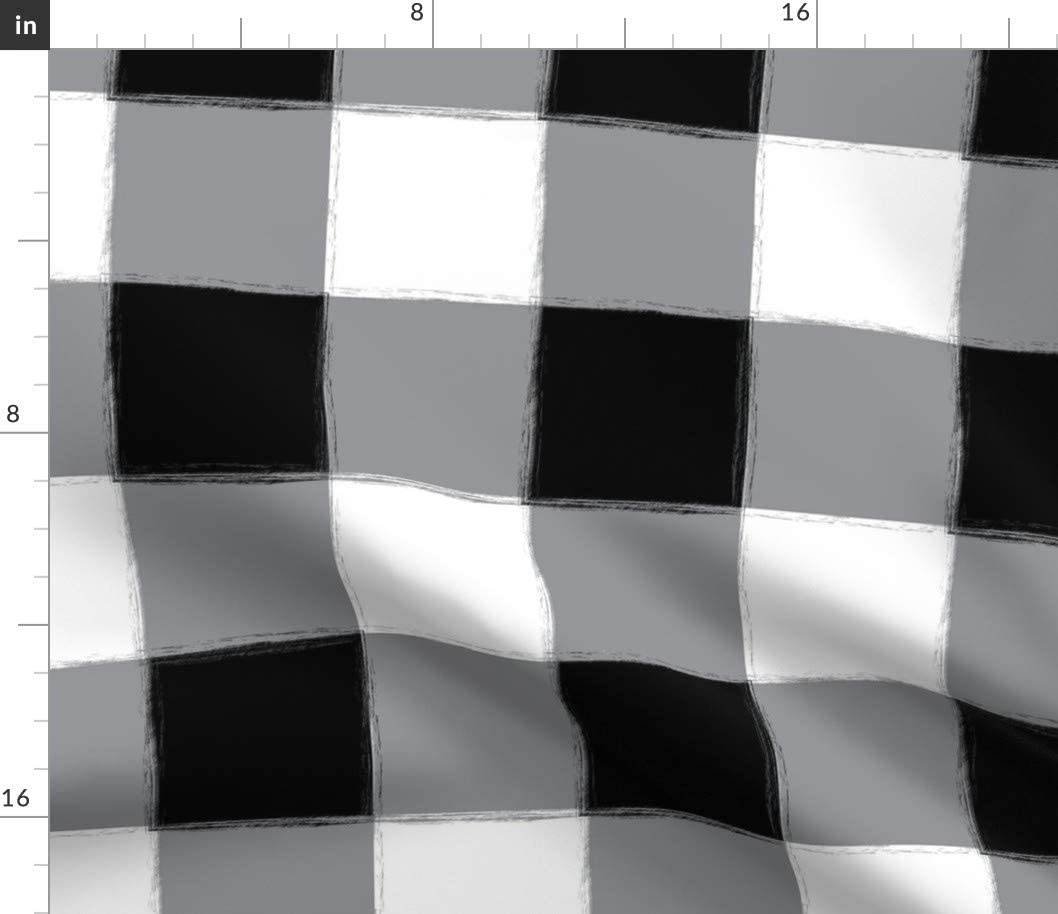 Spoonflower Fabric - Large Black Buffalo Check Gingham White Pattern Plaid Printed on Cotton Poplin Fabric by The Yard - Sewing Shirting Quilting Dresses Apparel Crafts