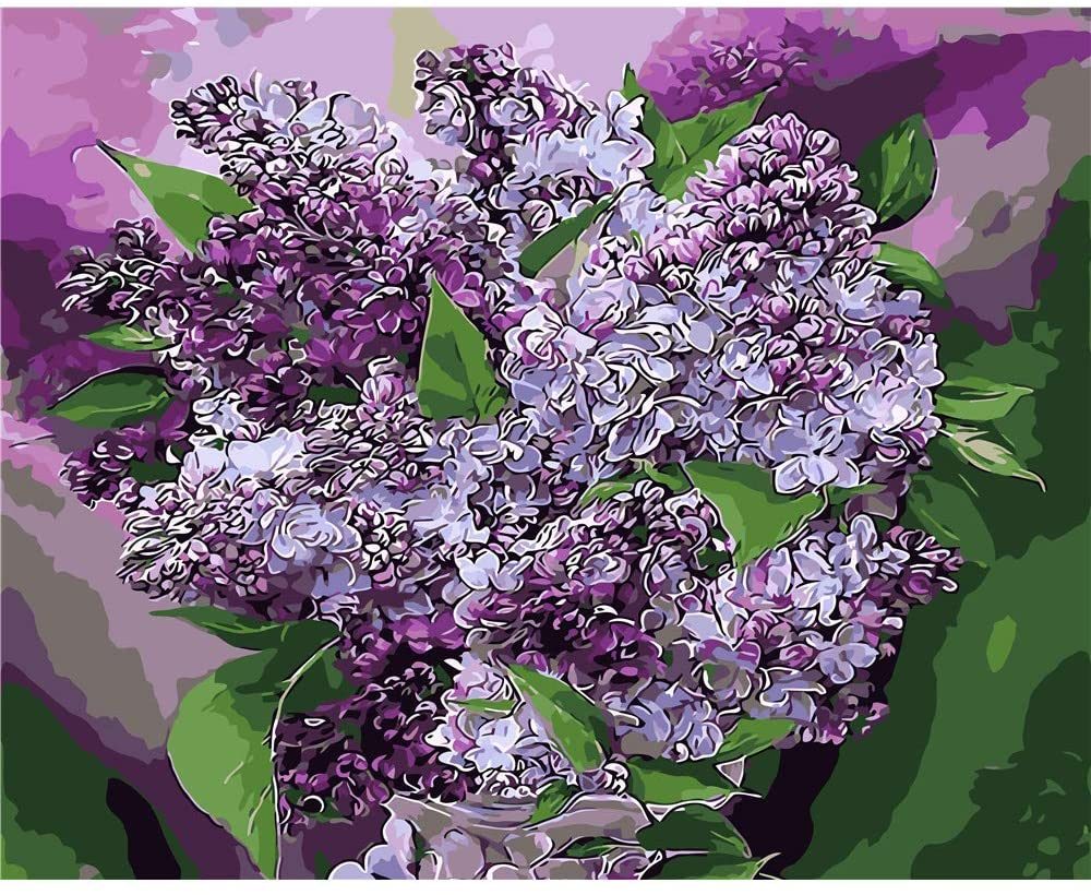 CHUNXIA DIY Oil Paint by Numbers for Kids and Adults Kits,16x20 Inch Canvas Acrylic Painting On Canvas with Paintbrushes,Purple Flower ZTY007-RSB8261