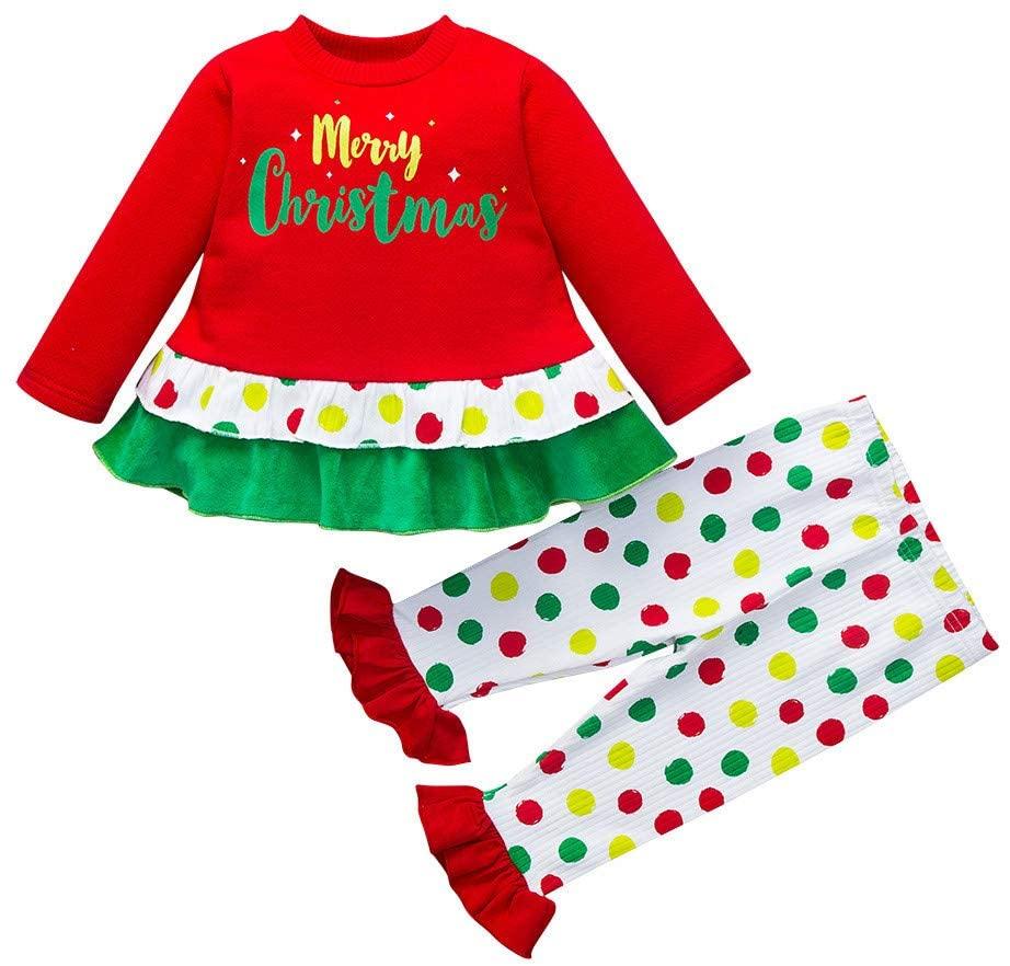 Outfits for Baby and Kids, Infant Baby Kids Girls Christmas Xmas Dot Print Skirt Dress Pants Outfits Sets, Girls Outfits&Set