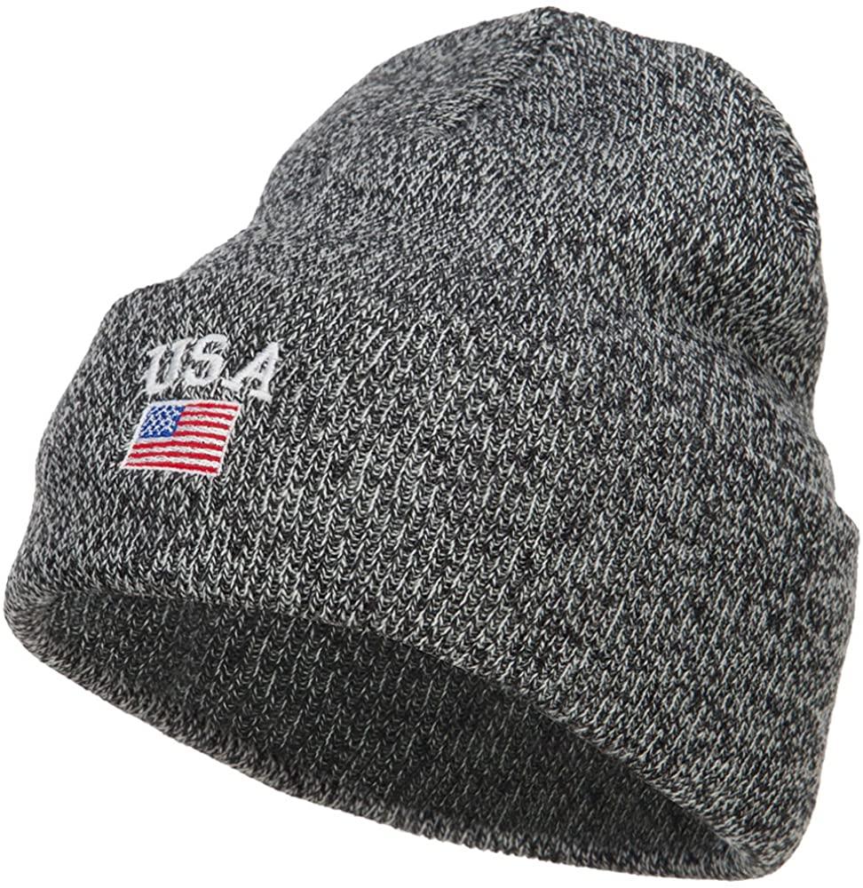 e4Hats.com USA with Flag Embroidery Insulated Long Beanie