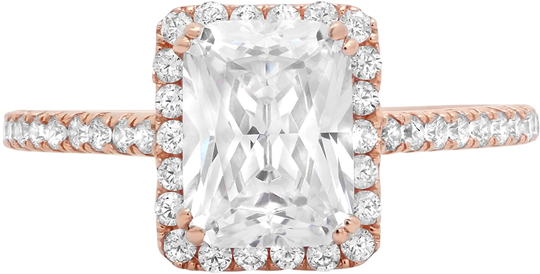 1.98ct Brilliant Emerald Cut Halo Wedding Anniversary Engagement Statement Bridal Ring 14k Rose Gold