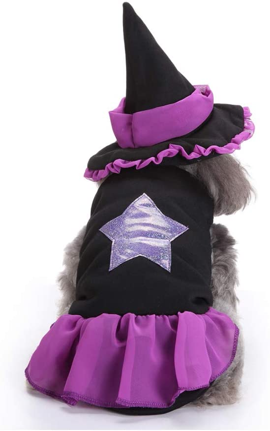 minansostey Dog Cat Halloween Witch Costume,Pet Cosplay Costumes,Puppy Warm Outfits Fleece