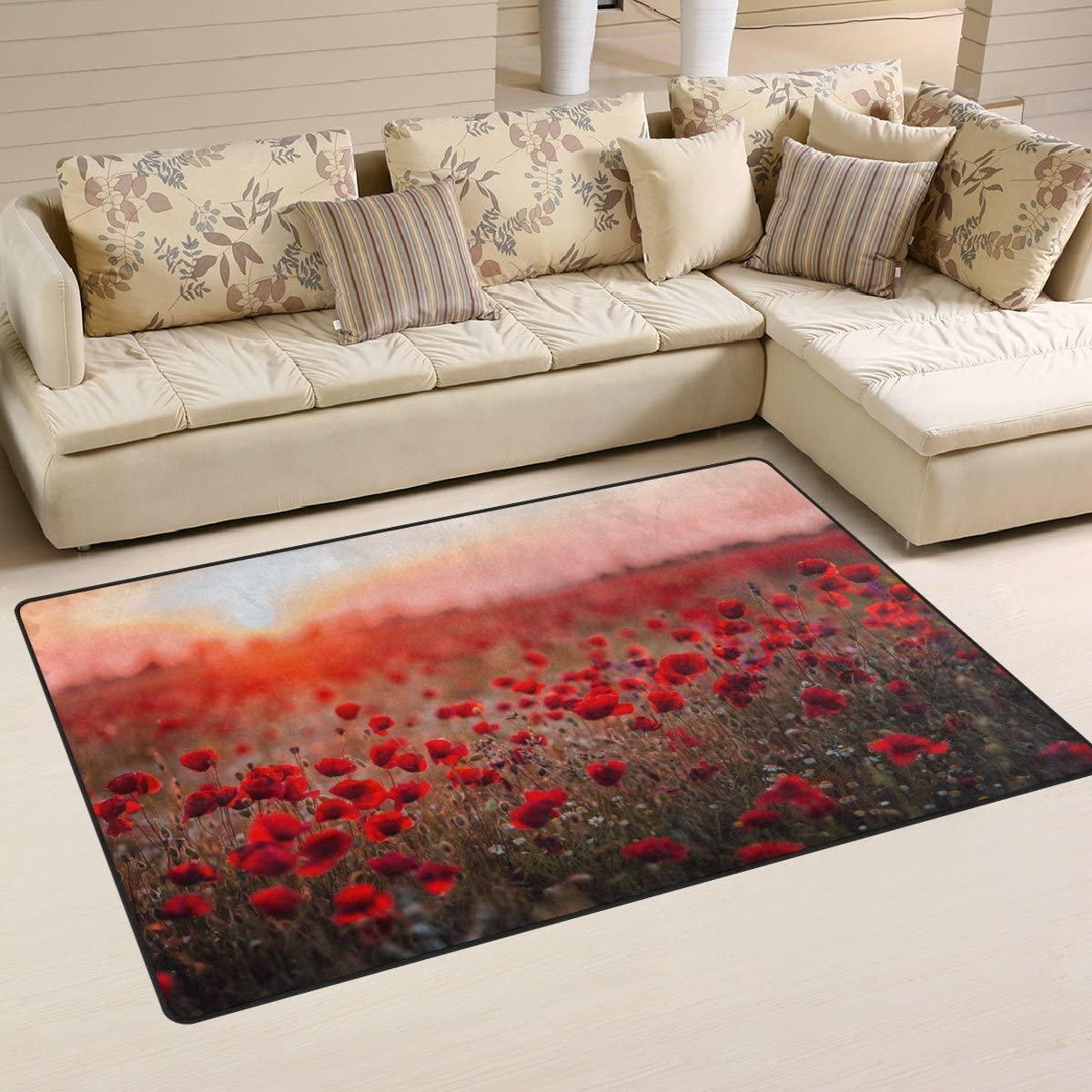 WellLee Area Rug,Colorful Wild Flower Field Red Poppies Sunset Floor Rug Non-Slip Doormat for Living Dining Dorm Room Bedroom Decor 60x39 Inch