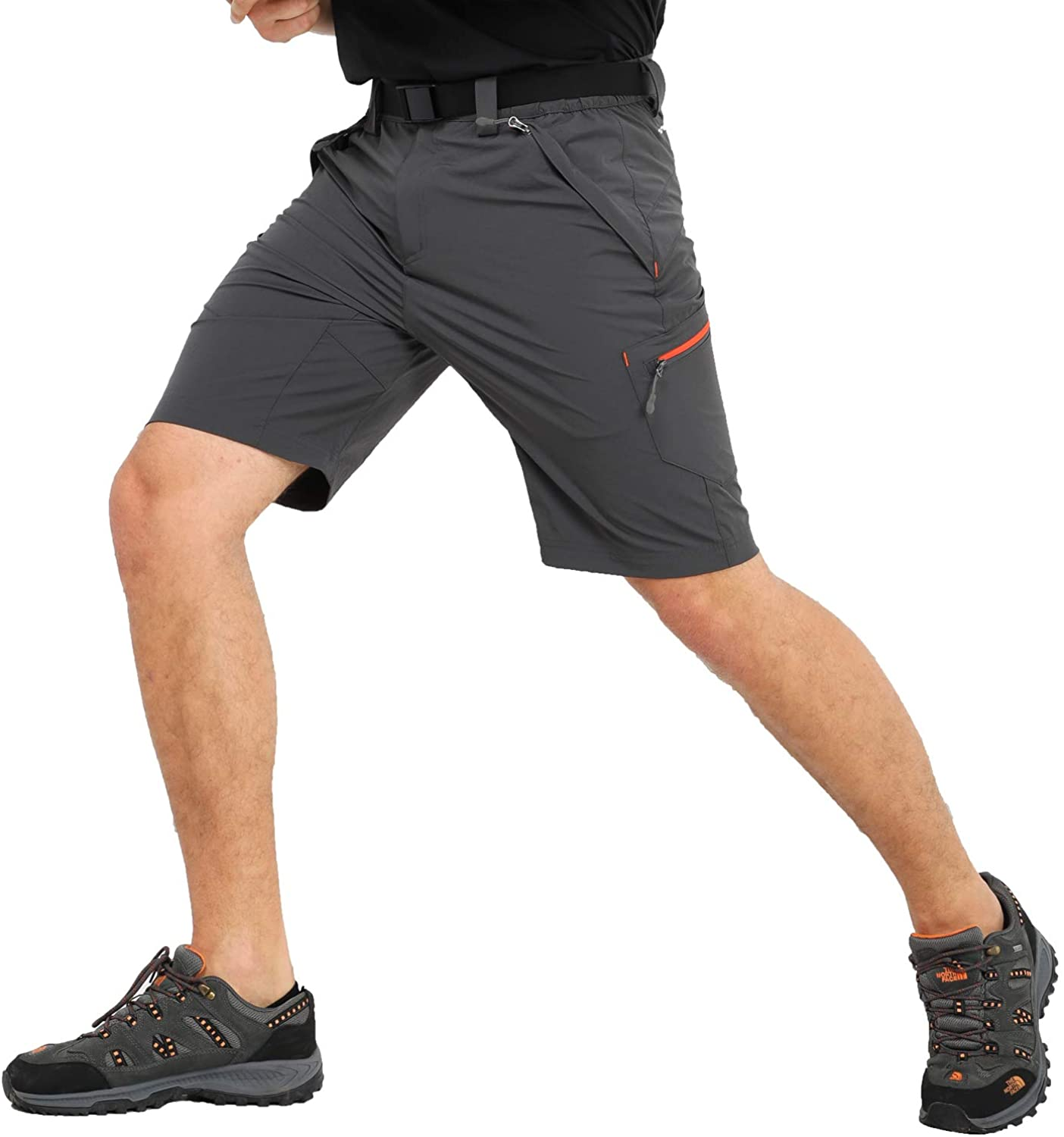 MIER Men's Stretch Hiking Shorts Quick Dry Nylon Cargo Shorts with Zipper Pockets, Water Resistant