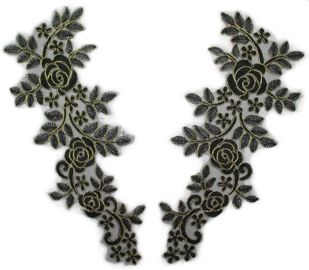 Trimscraft Retro Lace Trims Appliques Patches Gold Edge Flowers Pattern Wedding Bridal Garment Accessory 6-1/4