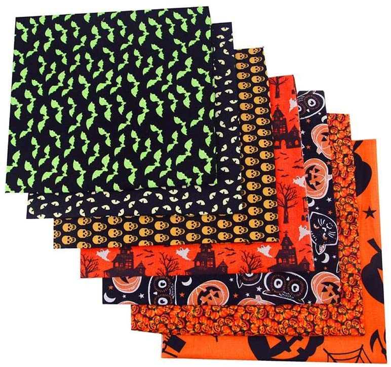 Halloween Theme Cotton Fabric Squares, Fabric Patchwork Craft, Quilting Squares Bundles, Cotton Fabric for Patchwork DIY Sewing Scrapbooking, 8PCS