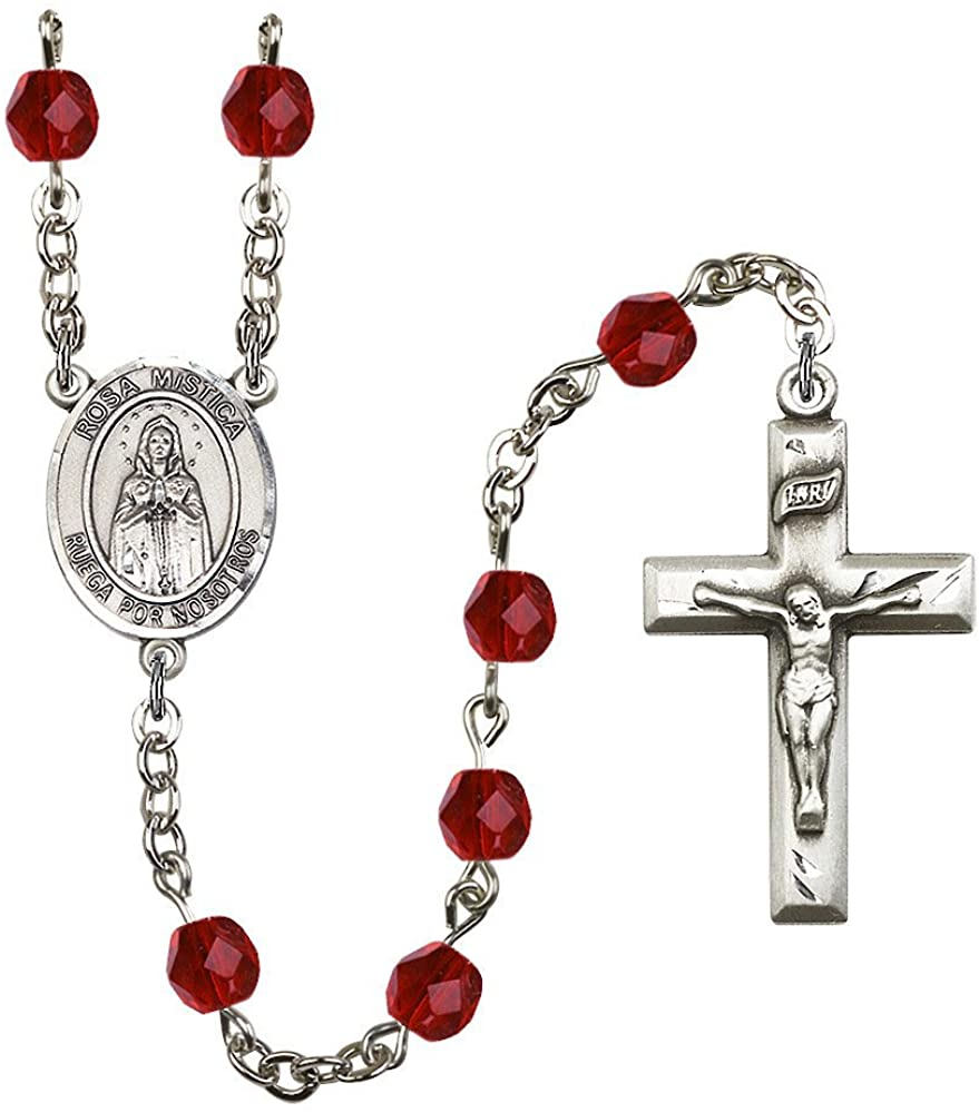 Bonyak Jewelry Our Lady of Rosa Mystica Silver-Plated Rosary - Every Birth Month Color and More