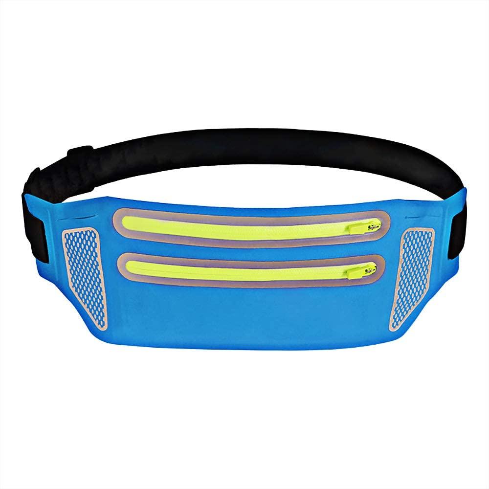 BlueDorado Slim Soft Water-Resistant Waist Pack Bag Running Belt Fanny Pack with 2-Zipper Pockets - Adjustable Running Pouch & Bounce Free for Man Women