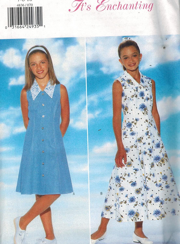 4836 Uncut Butterick Sewing Pattern It's Enchanting Girls Dress Headband Size 7 8 10