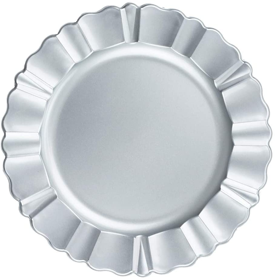 PaperLanternStore.com Silver Heavy Duty Charger Plate with Fluted Edge (13 Inch) - Smooth Finish