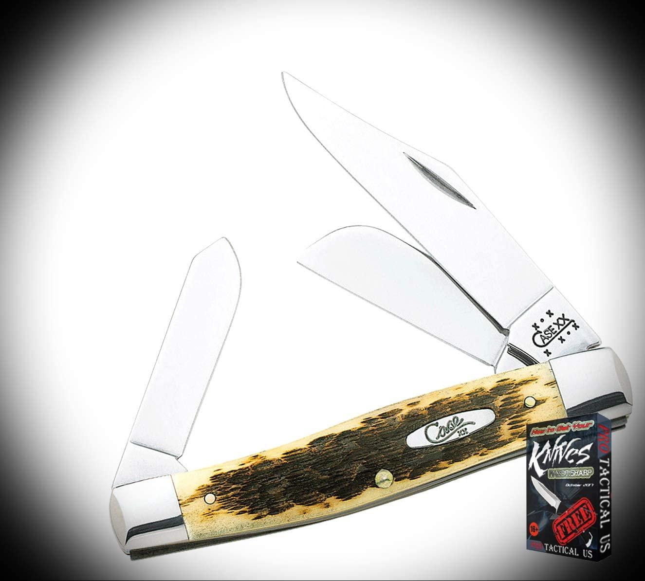 New Case Jumbo Stockman Amber Jigged Bone Handle Folding Pocket ProTactical Elite Knife 3552RT + Free eBook