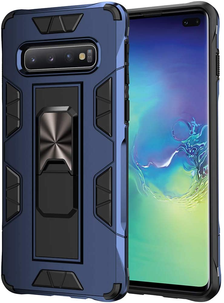 Samsung Galaxy S10 Case Military Grade Shockproof with Kickstand Stand Built-in Magnetic Car Mount Armor Heavy Duty Protective Case for Samsung Galaxy S10 Phone Case (Blue)