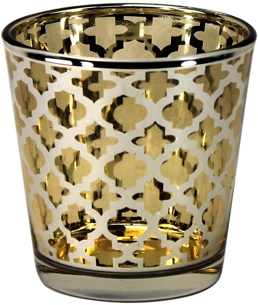 Decoflair PTC8612 Glass Gold Quatrefoil Candle Holder, Large