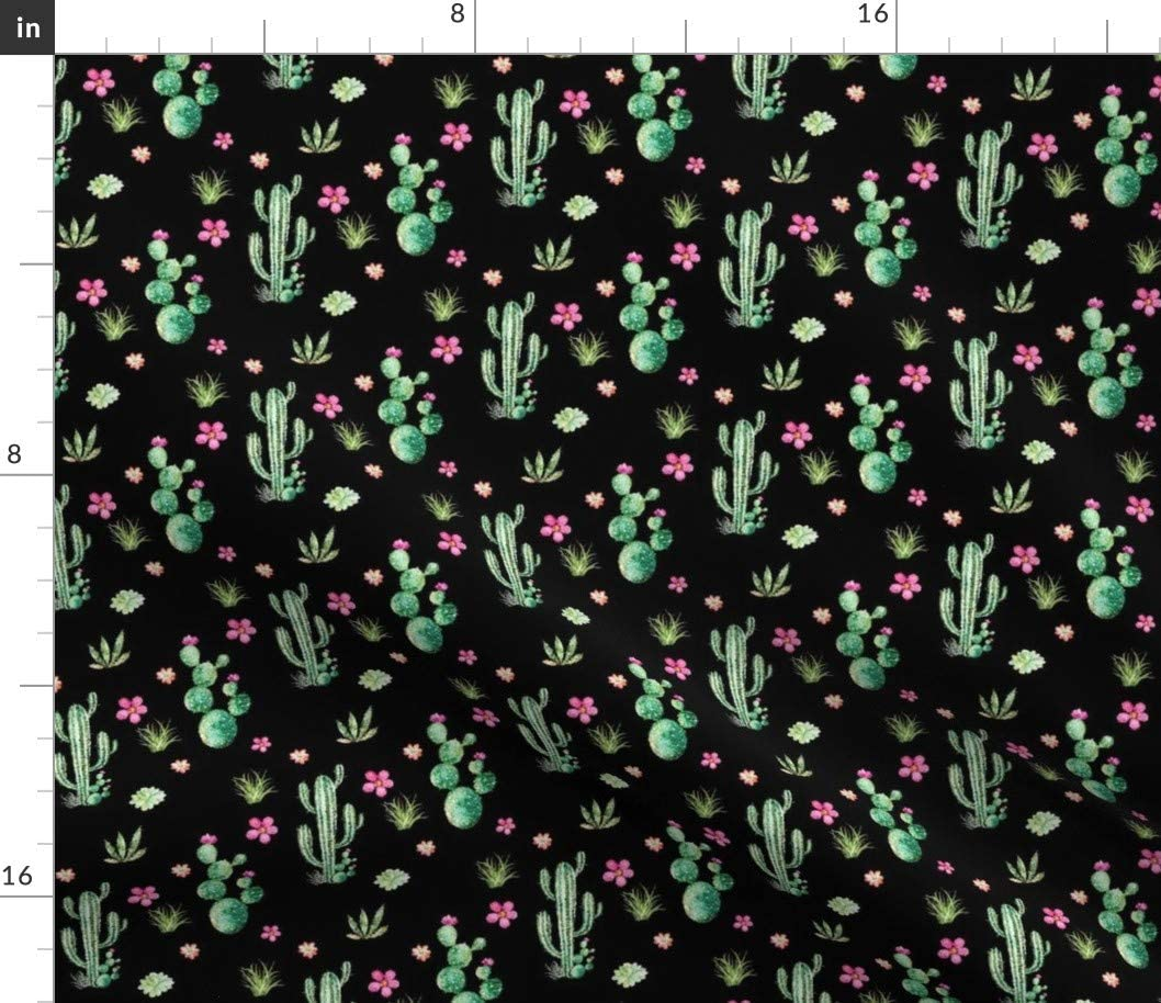 Spoonflower Fabric - Cactus Candy Western Cacti Floral Flowers Woodland Watercolor Wedding Printed on Cotton Poplin Fabric by The Yard - Sewing Shirting Quilting Dresses Apparel Crafts