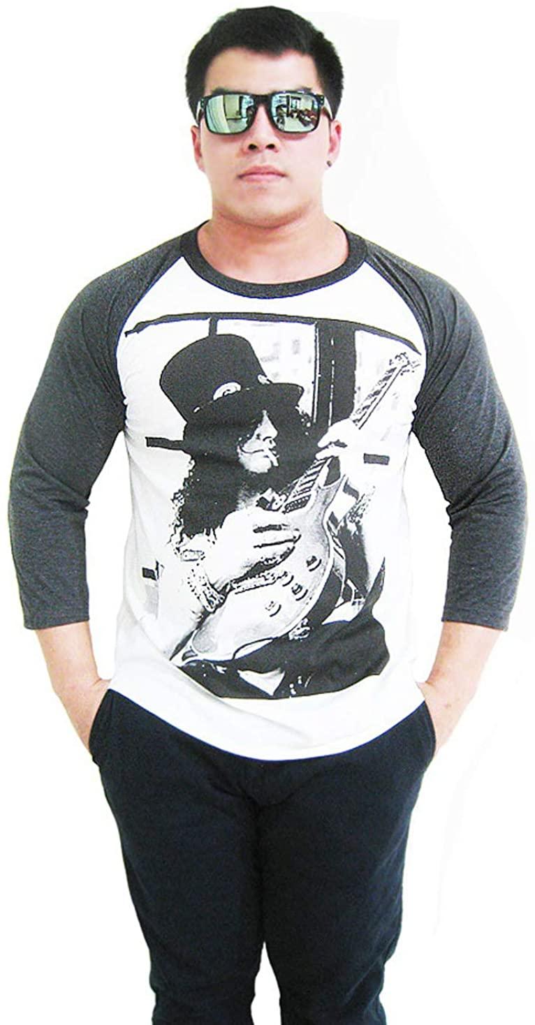 WRT Mens Slash Guitar Saul Hudson 3/4 Sleeve Baseball Jersey T-Shirt