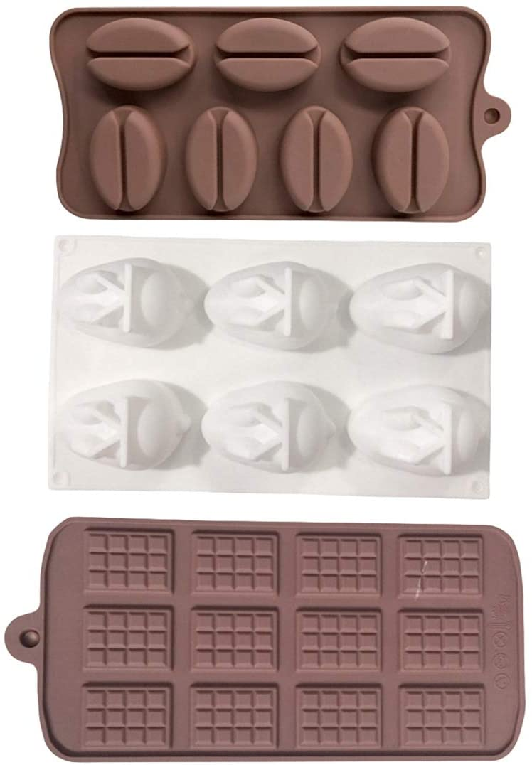 N / A Silicone Chocolate Biscuit DIY Molds Coffee Bean Tray Waffles Fondant Jelly Rabbits Non-Stick Mold Set, 3 Pcs, for Homemade Cake DIY Polymer Clay