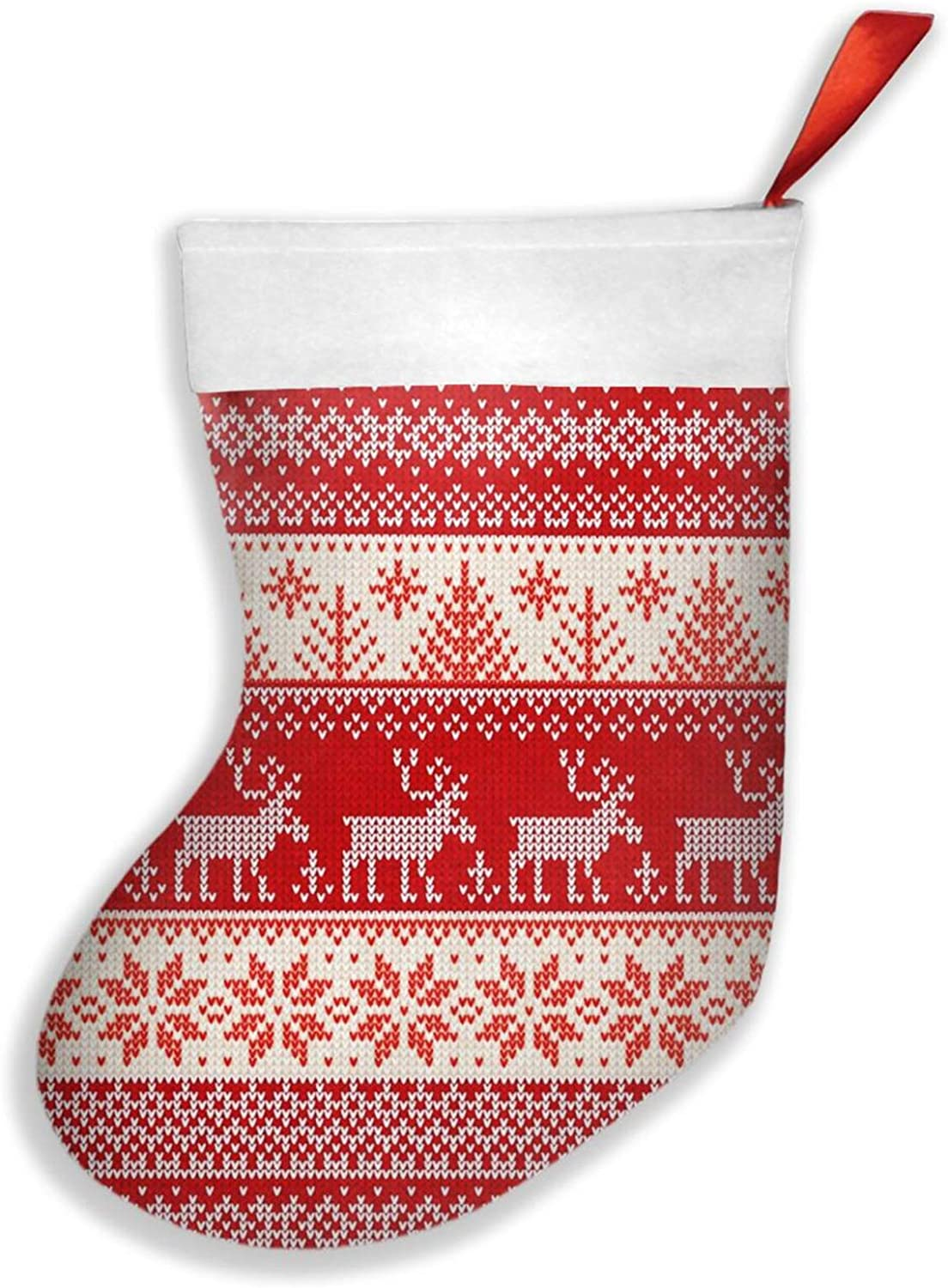 CUICAN Christmas Stockings Gift Bag Sock Christmas Decorations Xmas Ugly Sweater Red Snowflake Deer Hanging Stockings Decoration Holiday Season Party Decor