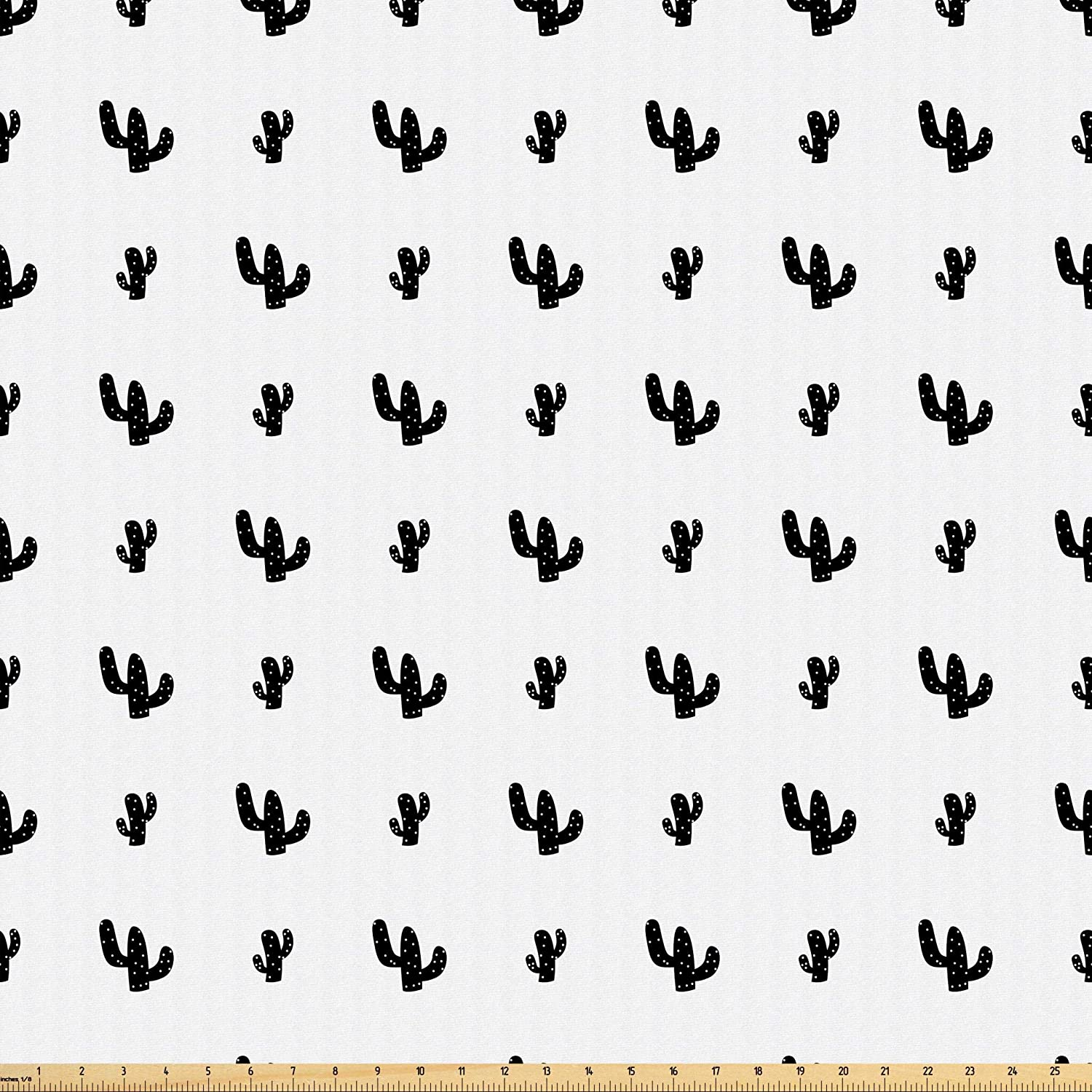Lunarable Cactus Fabric by The Yard, Monochrome Doodle Pattern of Hand-Drawn Cactus Plant Silhouettes Illustration, Microfiber Fabric for Arts and Crafts Textiles & Decor, 2 Yards, Black and White