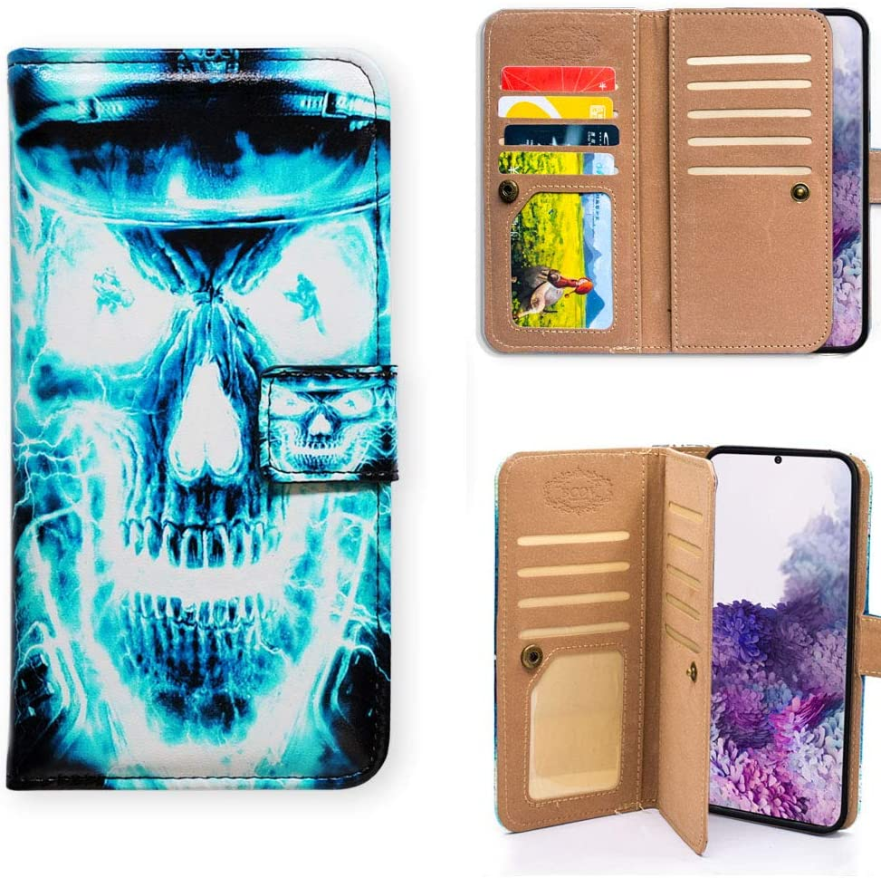 Galaxy S20 Plus Wallet Case,Bcov Blue Skull Pattern Multifunction Wallet Leather Case Flip Cover with Multi Card Slots Holder Wrist Strap for Samsung Galaxy S20 Plus / S20+