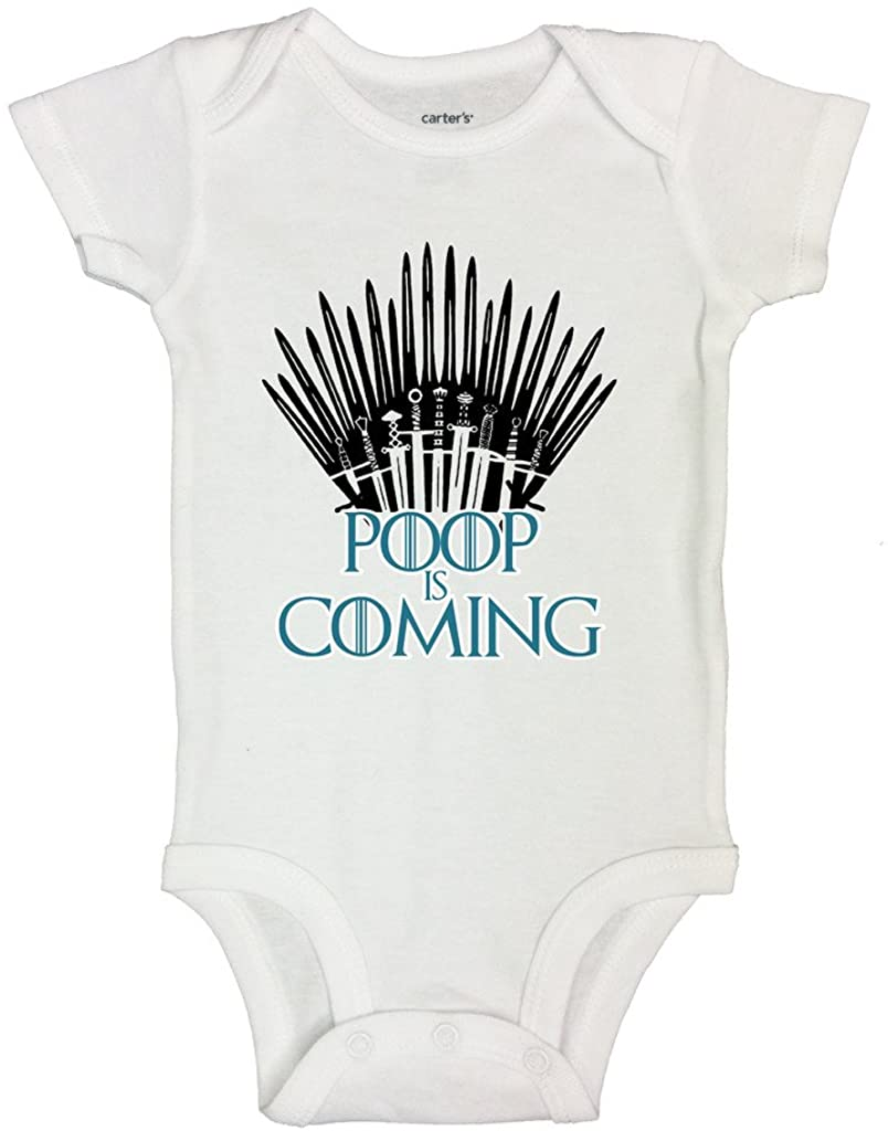 Little Royaltee Shirts Cute Movie Lover Bodysuit Poop is Coming Toddler 24, White