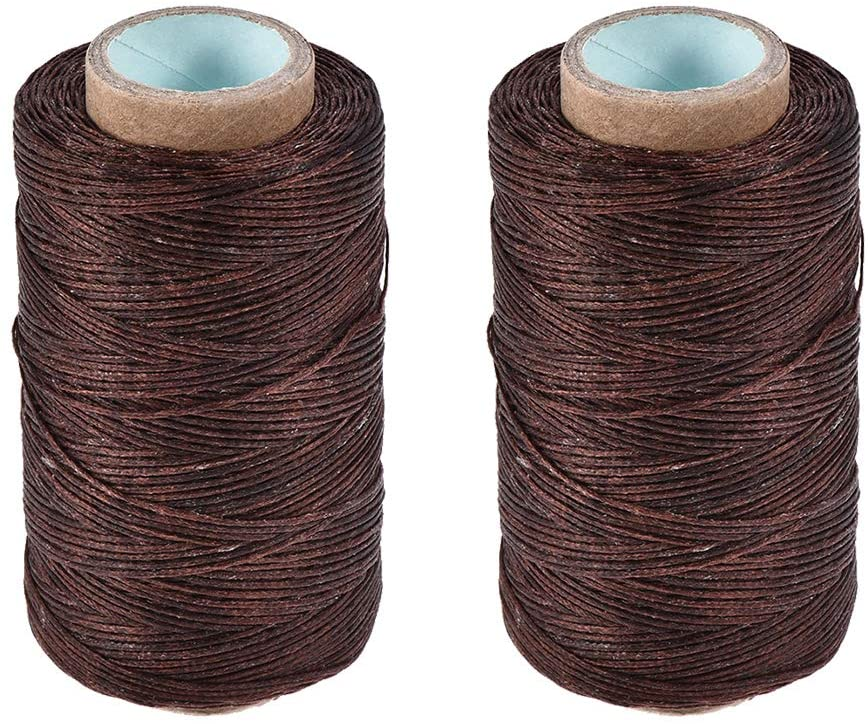 uxcell Leather Sewing Thread 273 Yards 150D/1mm Polyester Flat Waxed Cord for Hand Stitching Leather Bookbinding,Craft DIY, (Dark Coffee, 2pcs)