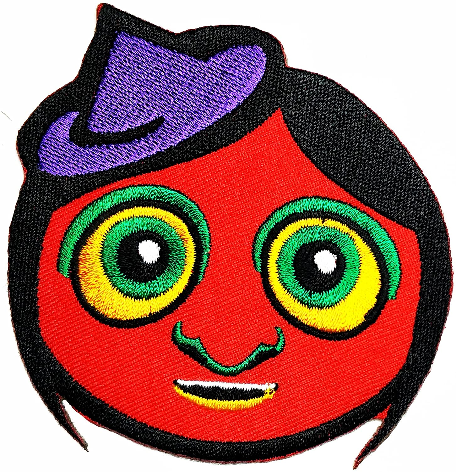 HHO Girl Head Red with hat cute Cartoon kids patch Embroidered DIY Patches, Cute Applique Sew Iron on Kids Craft Patch for Bags Jackets Jeans Clothes