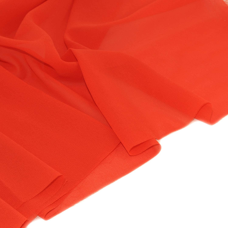 "Chiffon Fabric Polyestser Sheer for Bridal Decoration 59""(1 Yard,Orange Red)"