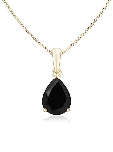 Pear-Shaped Black Onyx Solitaire Pendant (9x7mm Black Onyx)
