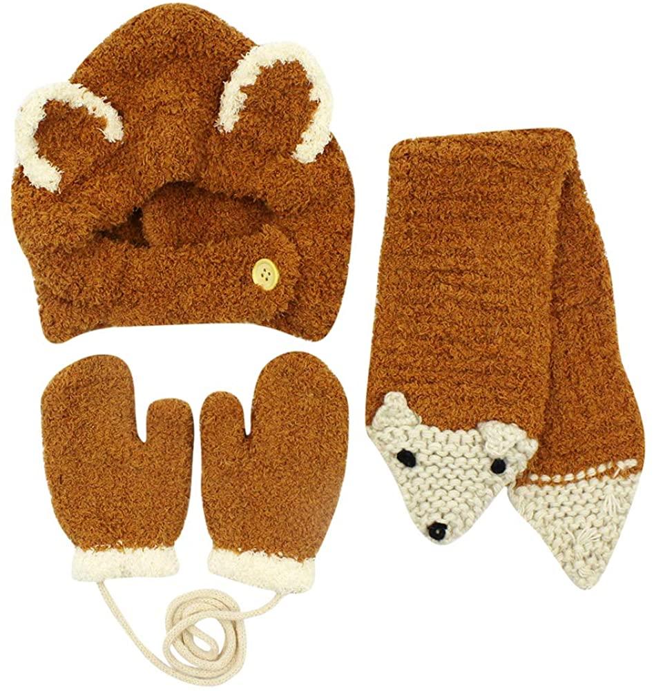 3 Pcs Baby Hat Fleece Cozy Scarf Gloves Cap Set Winter Warm Earflap Hood Cap Mittens for 4M-3T