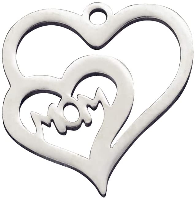 UNICRAFTALE 5pcs Heart with Word Mom Charms Stainless Steel Craft Pendants 1.2mm Hole Flat Smooth Charms for Pendants Jewelry Findings Making 15x15x1mm