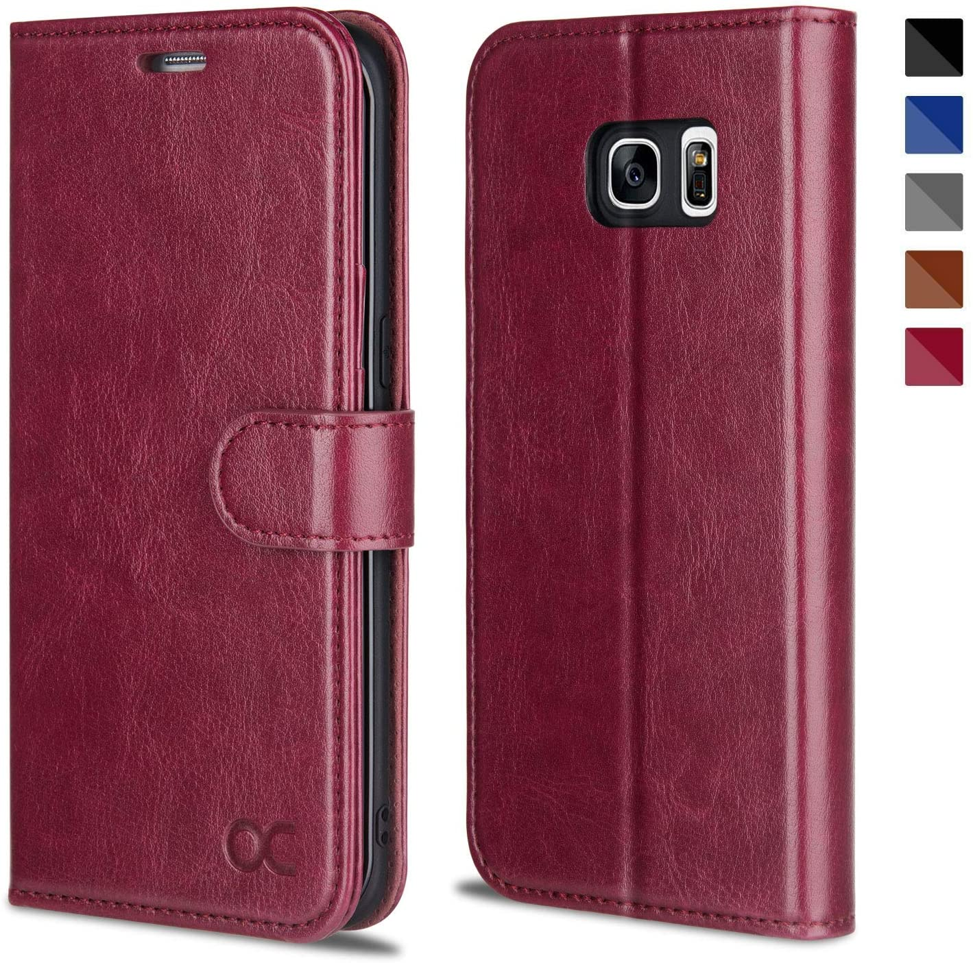 OCASE Galaxy S7 Edge Case [TPU Shockproof Interior Protective Case] [Card Slot] [Kickstand] Leather Wallet Flip Case Samsung Galaxy S7 Edge (Burgundy)