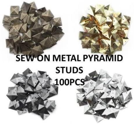 CraftbuddyUS 100pcs Silver Metal 9mm PYRAMID STUD sew on stitch on stick on Embellishments