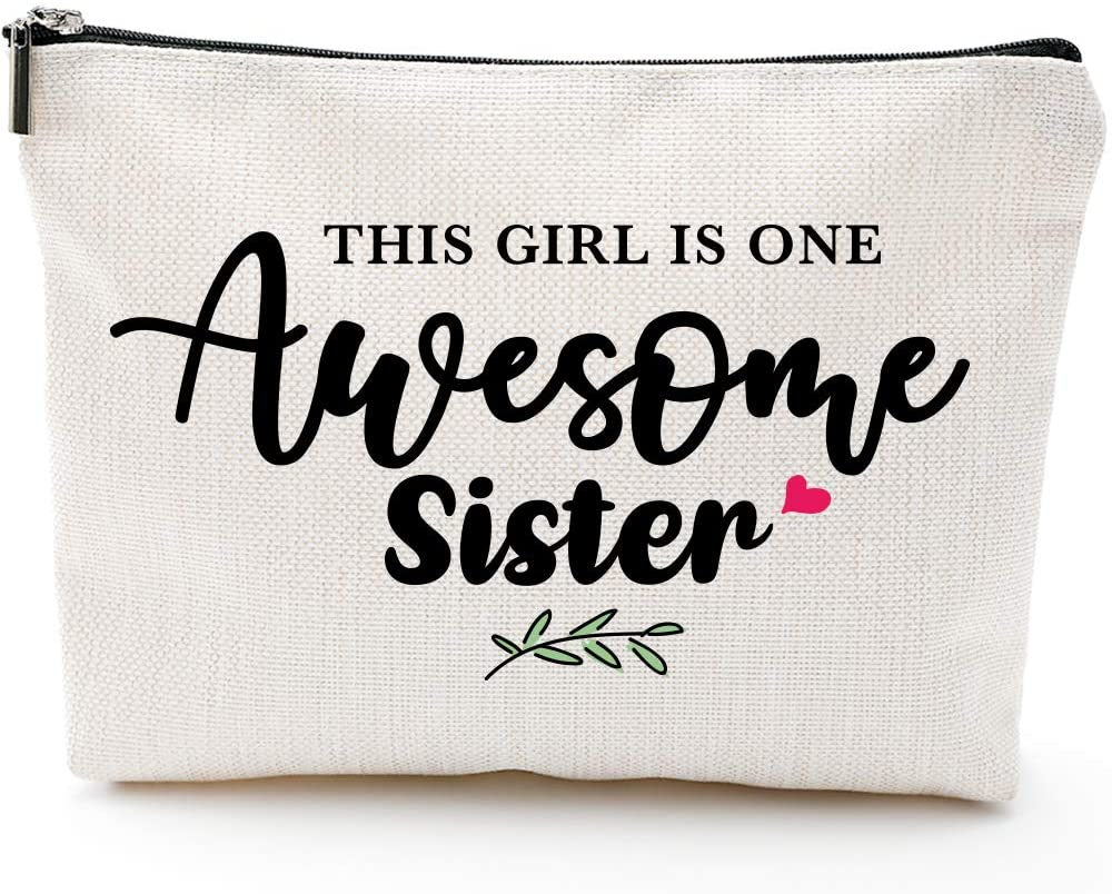 Sister Gifts for Women,Birthday Gifts for Sister-This Lady Is One Awesome Sister-Waterproof Makeup Bag