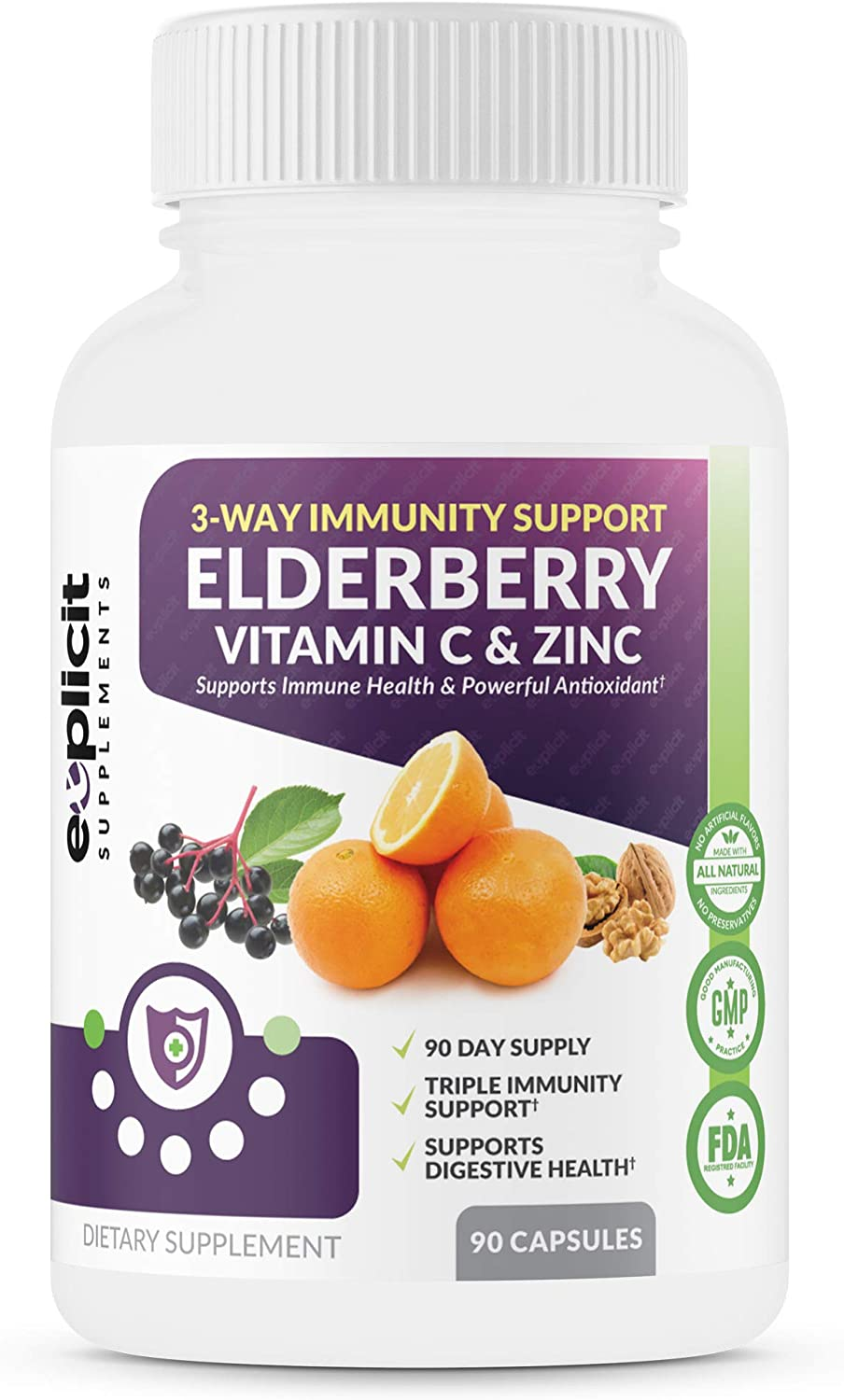 All Natural Elderberry, Vitamin C & Zinc Supplement - Triple Immunity Booster - Extra Strength 3 Month Supply - Supports Immune Health - Made in USA