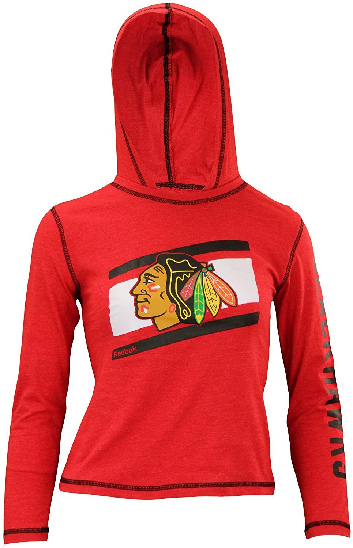 Reebok Chicago Blackhawks Girls Team Stripe Lightweight Hoodie