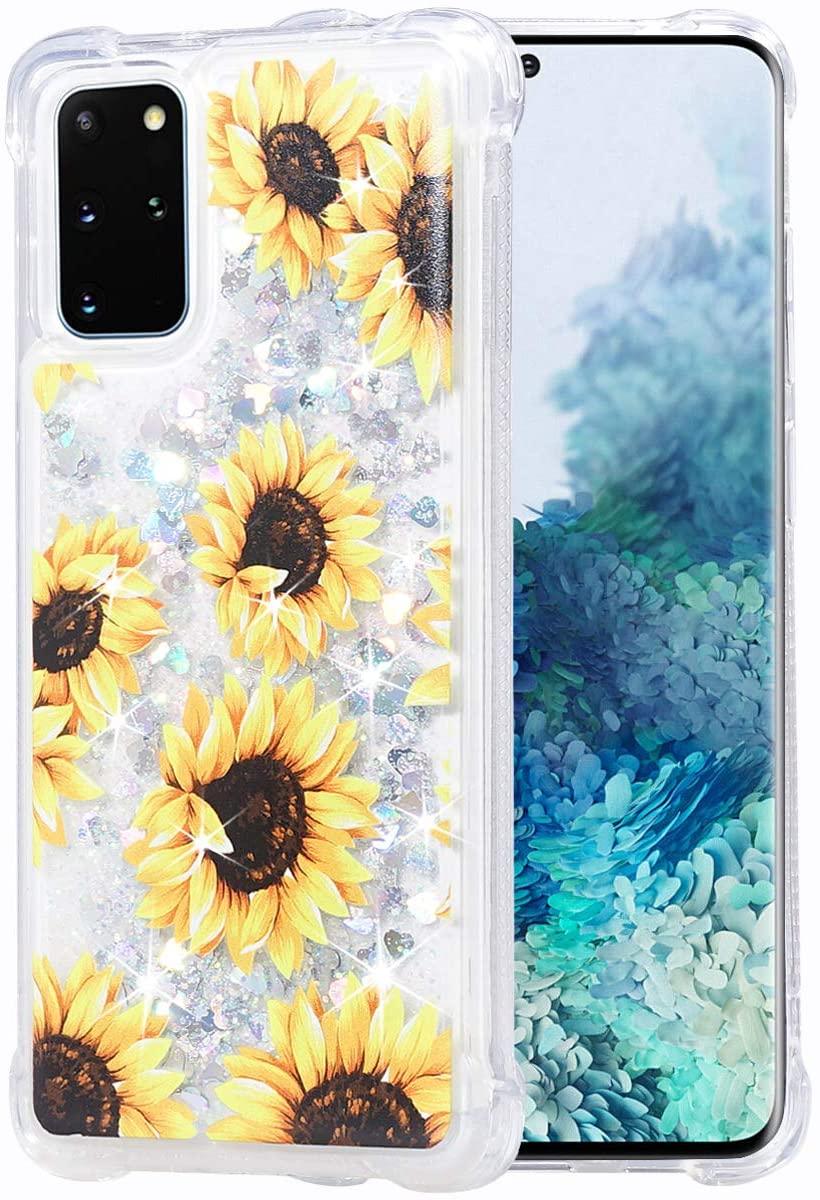 Flocute Galaxy S20 Plus Case, Galaxy S20 Plus Glitter Floral Case Flower Bling Sparkle Floating Liquid Soft TPU Cushion Luxury Girly Women Cute Phone Case for Samsung Galaxy S20 Plus (Sunflower)