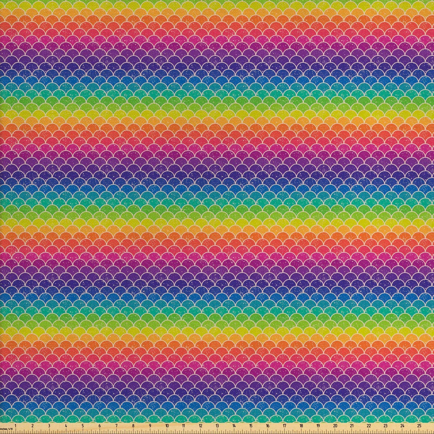 Lunarable Rainbow Fabric by The Yard, Rainbow Colored Chevron Pattern with Wihte Spots Abstract Psychedelic Art Print, Decorative Fabric for Upholstery and Home Accents, 2 Yards, Multicolor