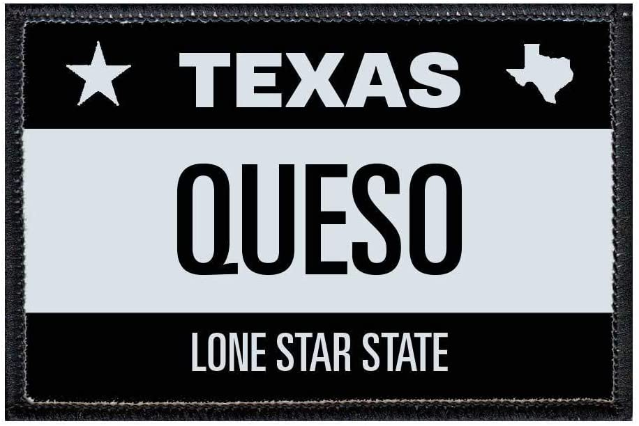 Queso - Texas License Plate Morale Patch | Hook and Loop Attach for Hats, Jeans, Vest, Coat | 2x3 in | by Pull Patch