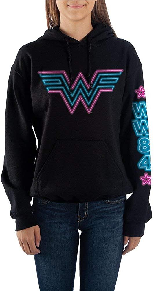 Juniors Wonder Woman DC Comic Book Neon & Black Hooded Sweatshirt