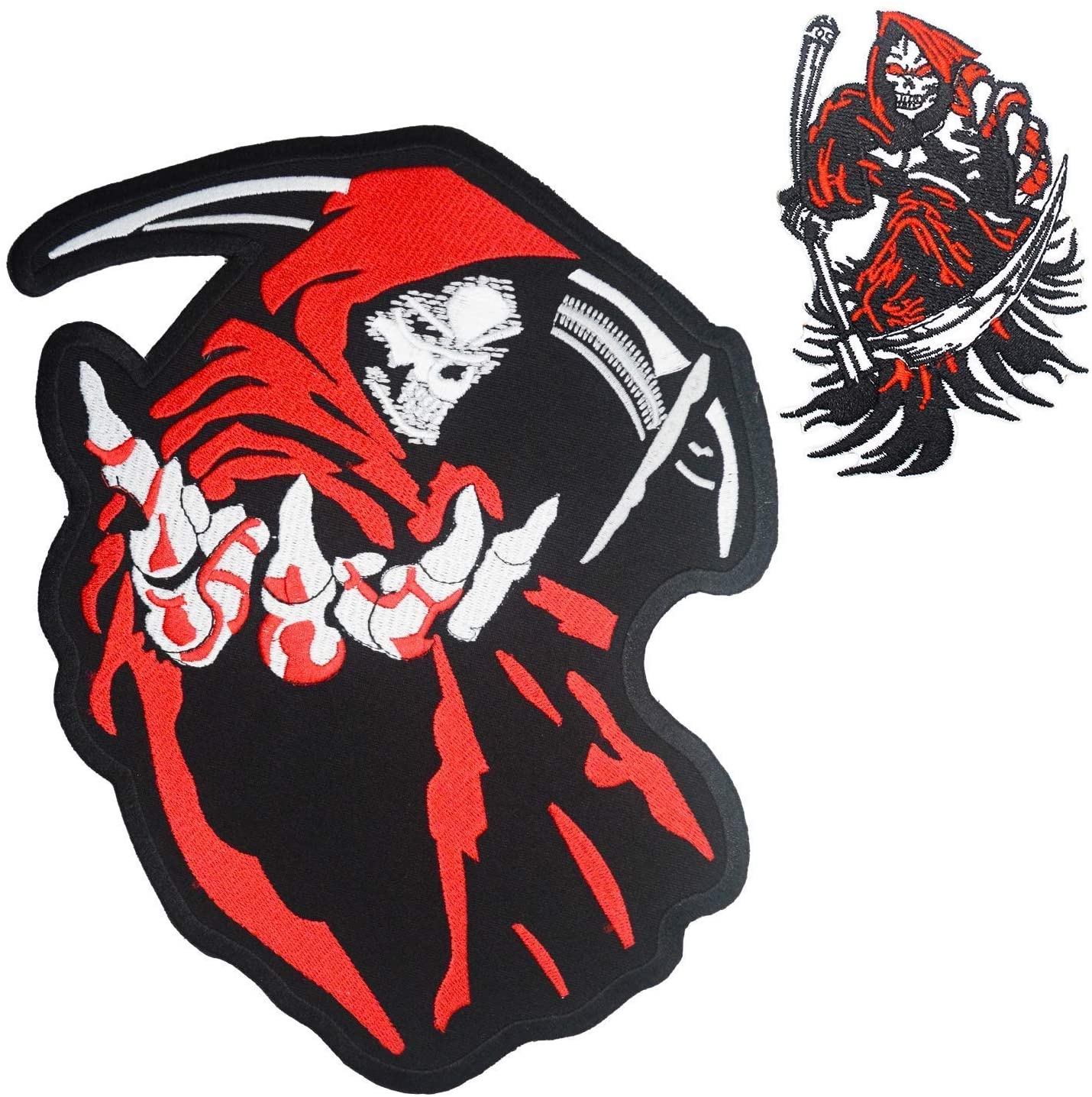 Grim Reaper Skull Red Hood Small & Large Embroidered Back Patches for Motorcycle Jacket & Biker Vest (Set of 2)