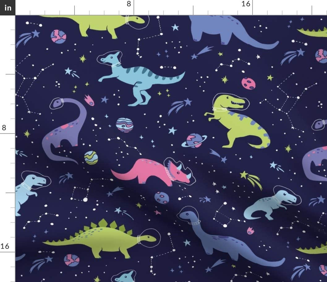 Spoonflower Fabric - Space Dinosaurs Dino Shower Outer Outerspace Constellation Astronaut Printed on Cotton Spandex Jersey Fabric by The Yard -