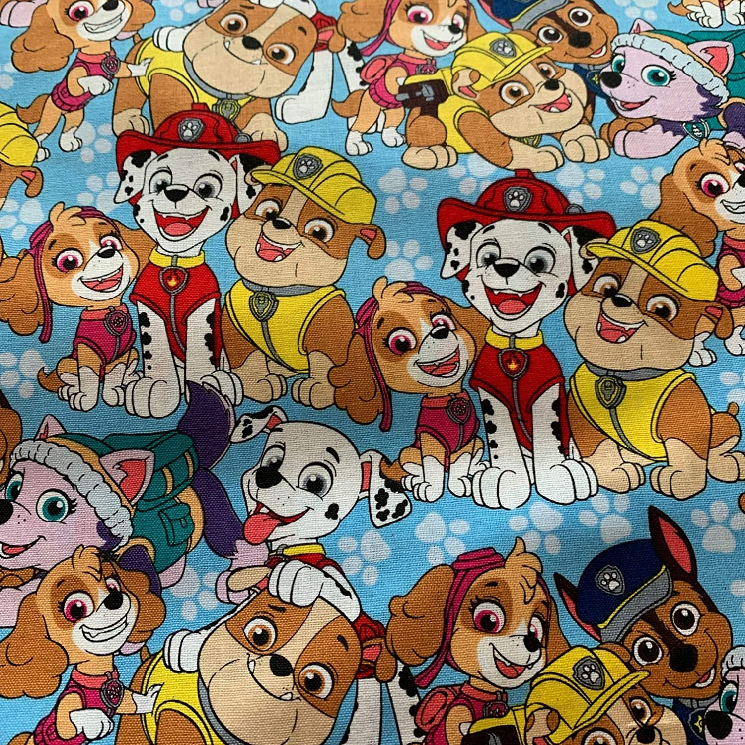 Fabric Face Mask Material Bright Colorful Prints and Designs for Kids and Adults Precut 100% Cotton 18x21 Inch Fat Quarter (Blue Paw)