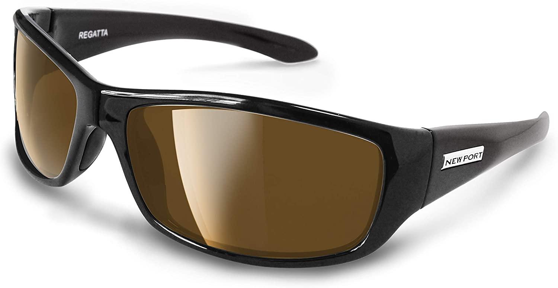 Newport Polarized Regatta Bifocal Sunglasses Black Frame with Amber (Brown) Polarized Lenses.