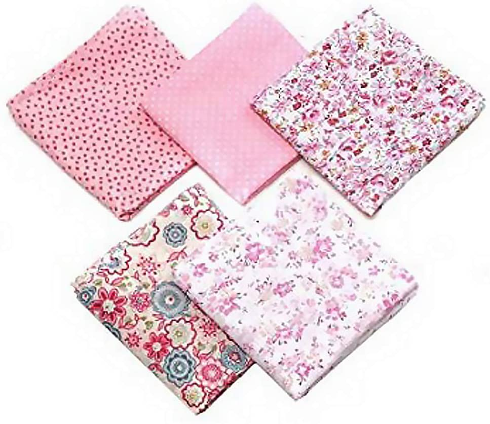 Daindy 5pcs Sewing Quilting Fabric Cotton Cloth Patchwork Fabric DIY Clothing Sewing Craft Fabric 50x50cm Pink